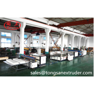 Auxiliary machine for plastic hollow corrugated sheet package boxes production line