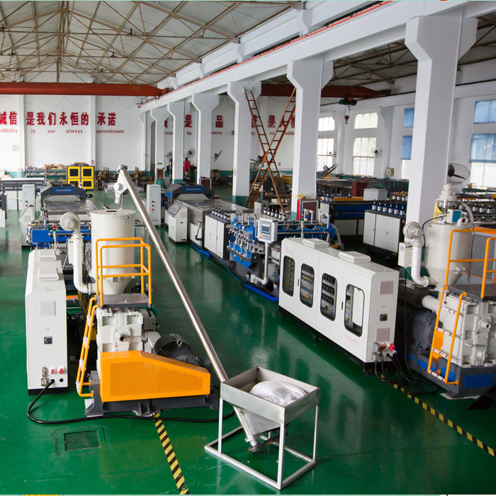 What parts of the PP hollow corrugated sheet production line are made up of?