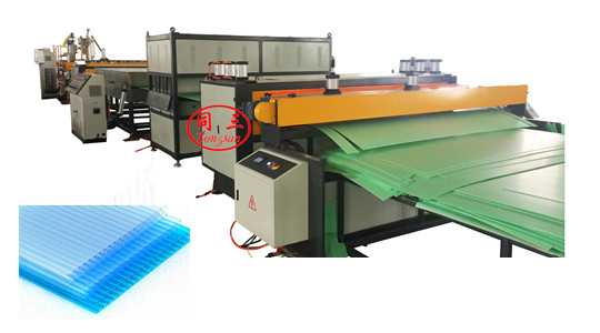 PC hollow corrugated honeycomb sun board making machine