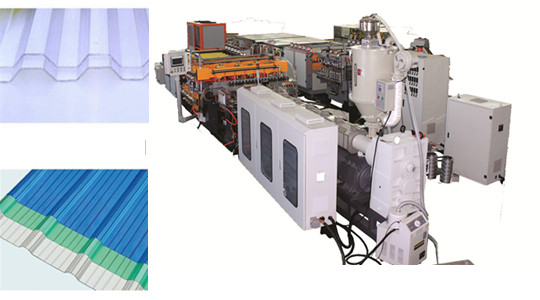 Co-extrusion PP hollow corrugated sheet machine