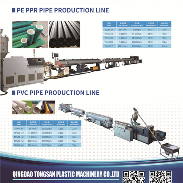 160-450mm SJ75  HDPE PP PPR Plastic pipe extruder making machine