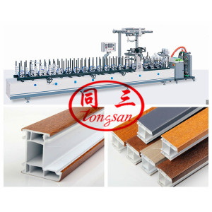 pvc window frame profile machine co extrusion with PUR laminating machine