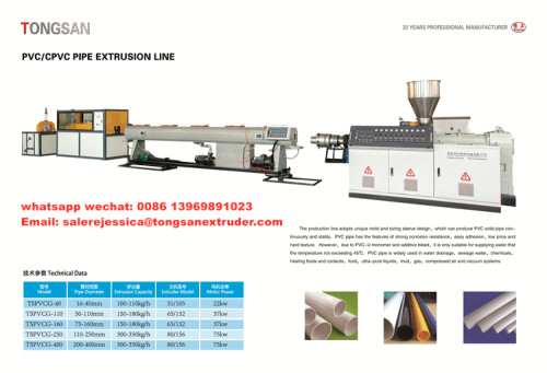 50-250 mm plastic PVC pipe extruder making machine with CE