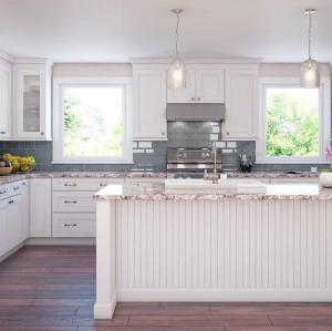 خزانة المطبخ شاكر النمط الأمريكي الكلاسيكي مع تصميم الجزيرة
