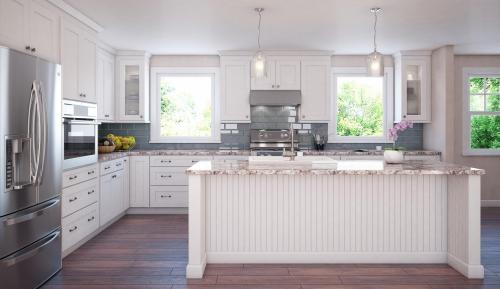 American style classic shaker kitchen cabinet with island layout