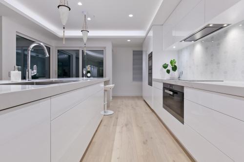 Pintura moderna en forma de l diseños de gabinetes de cocina con isla