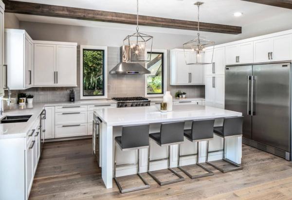 Armarios de cocina agitador RTA costo de diseño blanco con isla