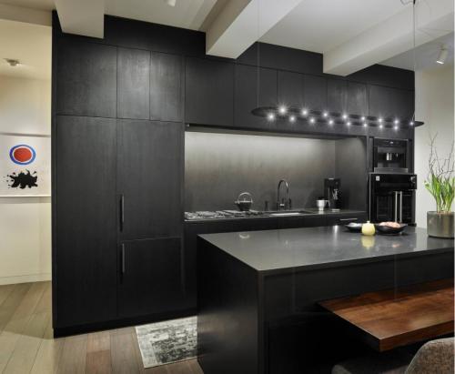 أنا شكل وحدات مطبخ مجلس الوزراء الأسود الحديثة وحدات مع بالوعة