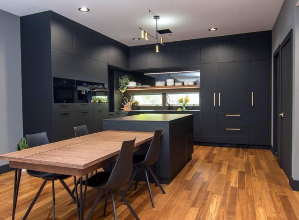 Gabinete de cocina negro establece fábrica al por mayor con cajones