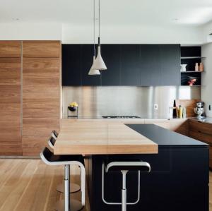 طقم خزانة المطبخ الأسود مصنع بالجملة مع أدراج