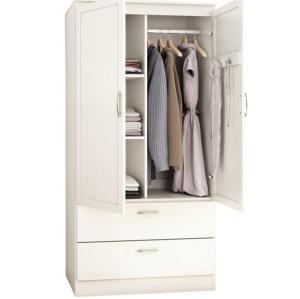 الأبيض شقة الحديثة غرفة نوم تصميم خزانة خشبية