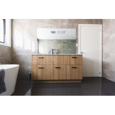 Plywood wooden apartment bath vanity cabinet with sink for sale