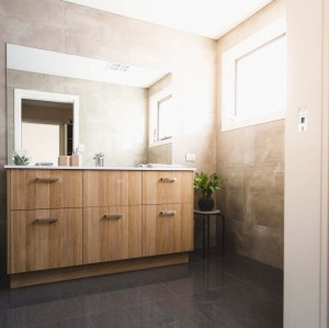 الخشب الرقائقي حمام شقة الغرور مجلس الوزراء مع بالوعة للبيع