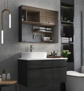 Melamine face plywood wall mount bath vanity cabinet set