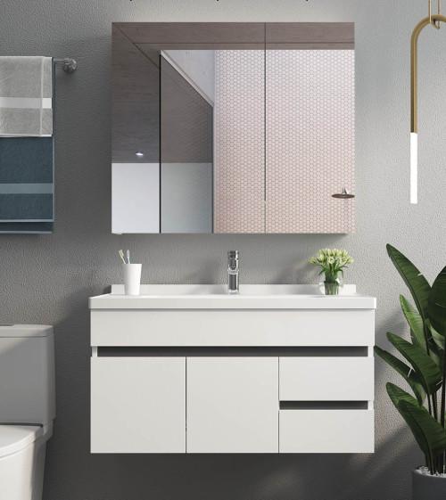 Diseño de tocador y espejo de baño blanco para baño