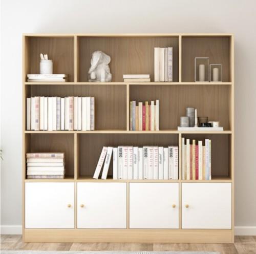 مكتبة منزل كبير خشبي رف خزانة تصميم الأثاث