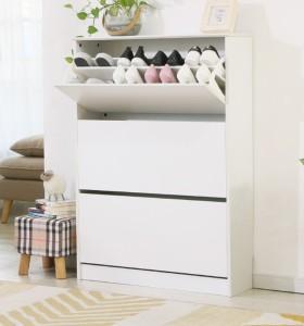 White melamine overturn shoe cabinet storage design