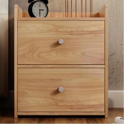 Dormitorio de madera cama de grano de madera melamina mesilla de noche gabinete