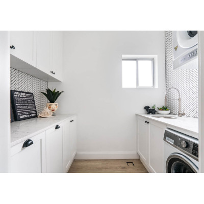 Solid wood waterproof laundry cabinet unit sale