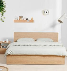 Modern cheap apartment wooden particle board bed set design