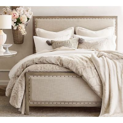 Lacquer solid wood frame fabric bed set