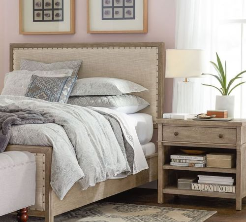ورنيش الصلبة الخشب الإطار النسيج مجموعة السرير