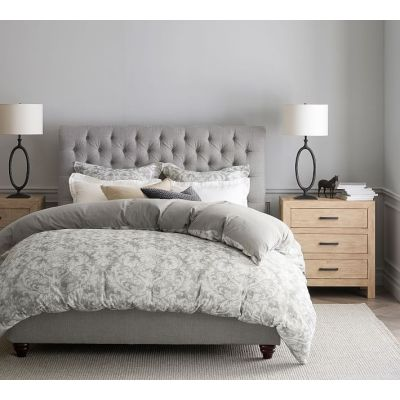 Queen king size classic fabric button bed
