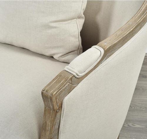 العتيقة ريفي نمط الخشب الإطار الكتان النسيج أريكة
