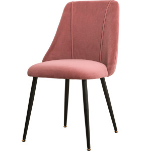 Modern light luxury style metal leg velvet fabric dining chair