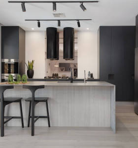 Industrial style house fashion dark grey lacquer kitchen cabinet design