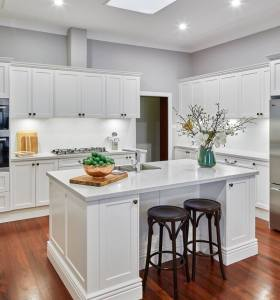 Villa project american style solid birch wood white kitchen cabinet