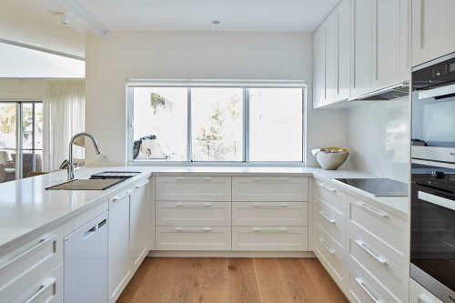 فيلا مشروع النمط الأمريكي الصلبة خشب البتولا الأبيض مطبخ مجلس الوزراء