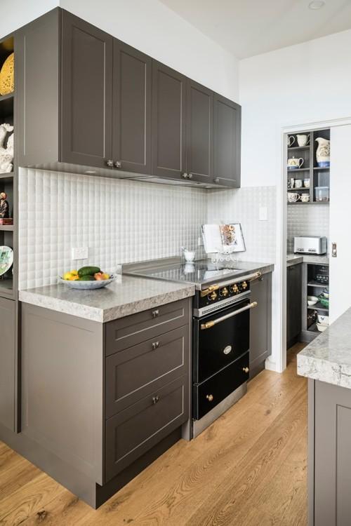 مشروع أثاث المطبخ بني اللون شاكر مطبخ مجلس الوزراء مع بالوعة و isalnd