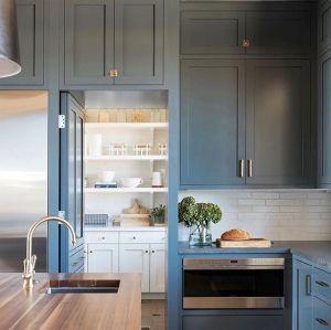 إطار الباب اللون الأزرق شاكر تصميم أثاث المطبخ مجلس الوزراء نوع
