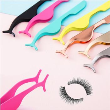 Mink Eyelash Tweezers Wholesale Bulk False Lash Curl Tweezer Applicator Purple 90 Degree Tweezer