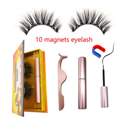 10 Magnets  Eyelashes Hot sales handmade magnet eyelash 3d magnetic fake eyelashes