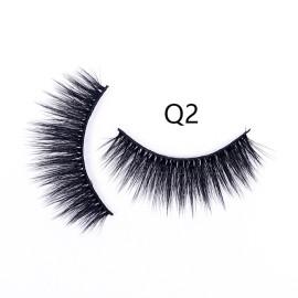 Faux lashes wholesale 3D faux human eyelash faux Mink wispy Strip Eyelashes vendor