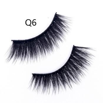 Wholesale Natural 3D Faux Mink Eyelashes HandMade Full Strip Lashes Volume Soft Mink Lashes(Q6)