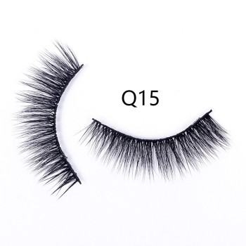 Fake Eyelashes False Eyelashes Handmade Human Hair Natural Faux Lashes (Q15)