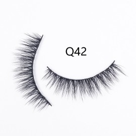 1 Pair 3D Faux Mink Natural False Eyelashes silk eyelash Volume Long Lashes Extension(Q42)