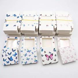Square window butterfly eyelash box 1 pair fake eyelash paper box with eyelash tray