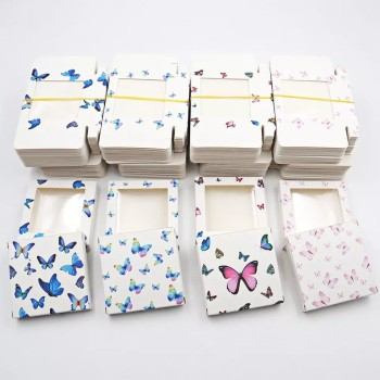 Square window butterfly eyelash box 1 pair fake eyelash paper box with eyelash tray