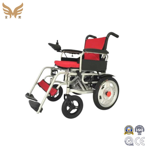 Foldable Steel Frame Electric Wheelchair PU solid Front Casters Wholesale