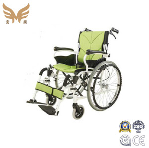 Green Aluminium hand push Manual Wheelchair