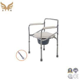 Folding Steel Commode Chair with Wheels for Elderly