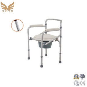 Folding Aluminium Commode Chair with Wheels for Elderly