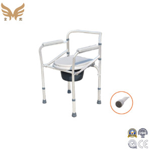 Spray-painted Steel Commode Chair with Wheels for Elderly