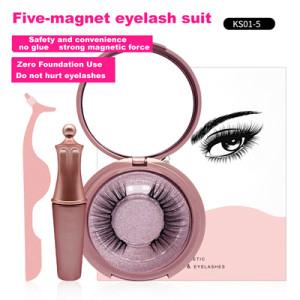 Hot Sale 5 magnets Magnetic Eyelashes 3D Magnetic False Eyelashes With Lash Packaging Box Eyelash Eyeliner Suit