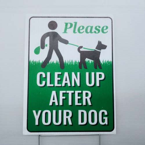 PP printed dog poop fluted coroplast sign yard sign with H stakes