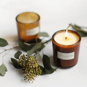 Classic small scented soy candles in glass jar